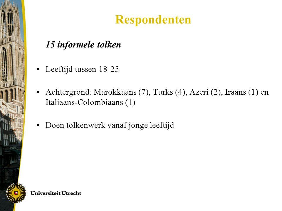 Respondenten 15 informele tolken Leeftijd tussen 18-25