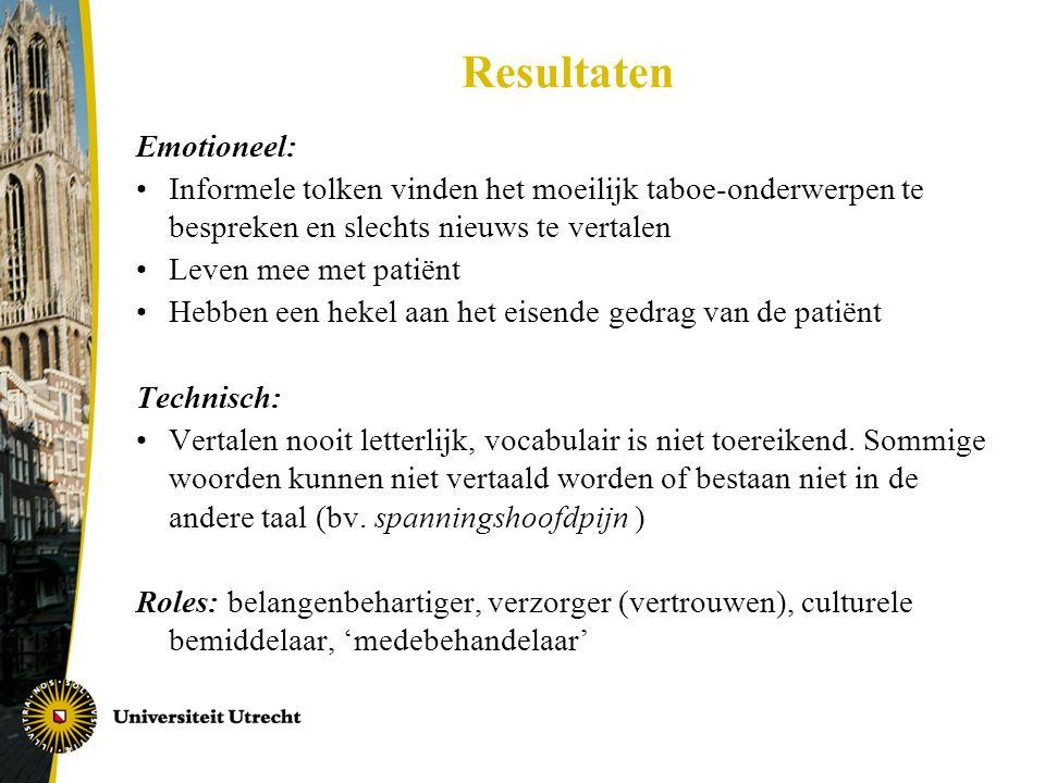 Resultaten Emotioneel: