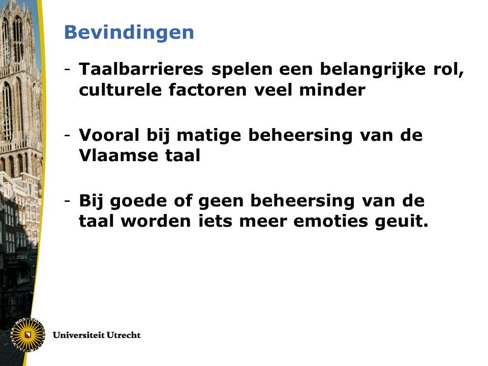 Bevindingen Taalbarrieres spelen een belangrijke rol, culturele factoren veel minder. Vooral bij matige beheersing van de Vlaamse taal.