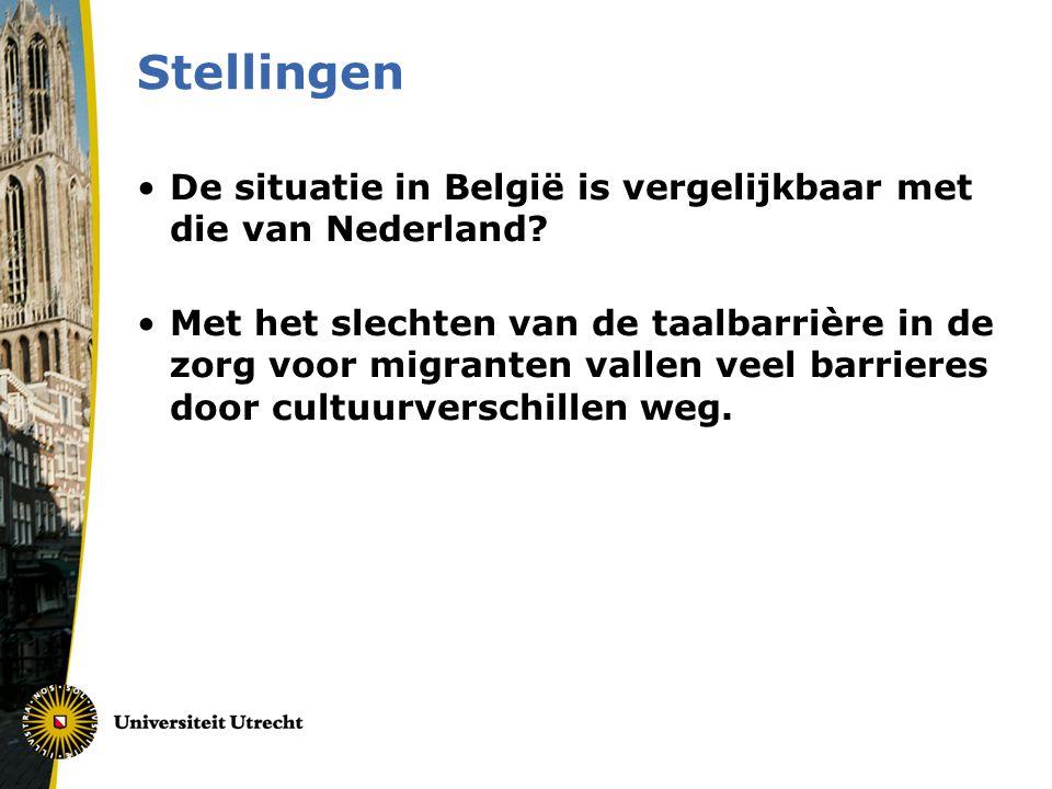 Stellingen De situatie in België is vergelijkbaar met die van Nederland