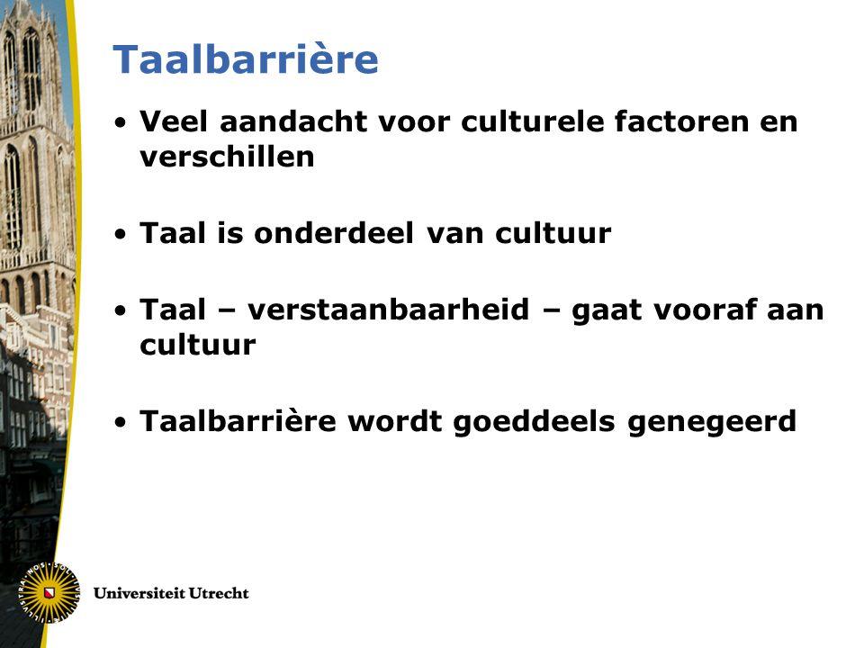 Taalbarrière Veel aandacht voor culturele factoren en verschillen