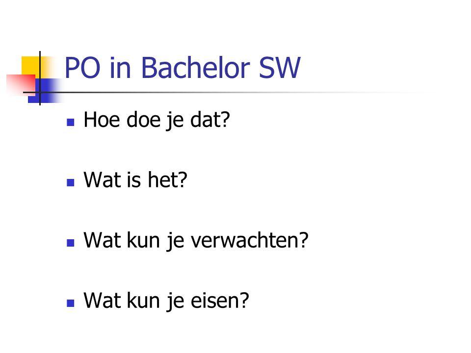 PO in Bachelor SW Hoe doe je dat Wat is het Wat kun je verwachten