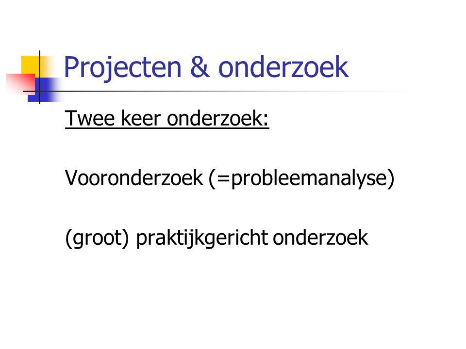 Projecten & onderzoek Twee keer onderzoek: