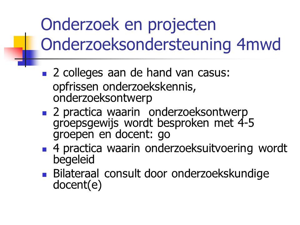 Onderzoek en projecten Onderzoeksondersteuning 4mwd