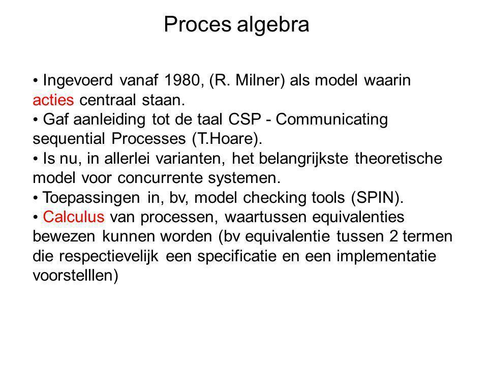 Proces algebra Ingevoerd vanaf 1980, (R. Milner) als model waarin acties centraal staan.