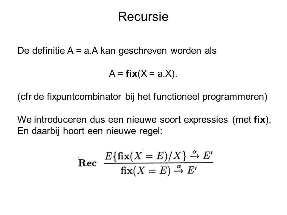 Recursie De definitie A = a.A kan geschreven worden als