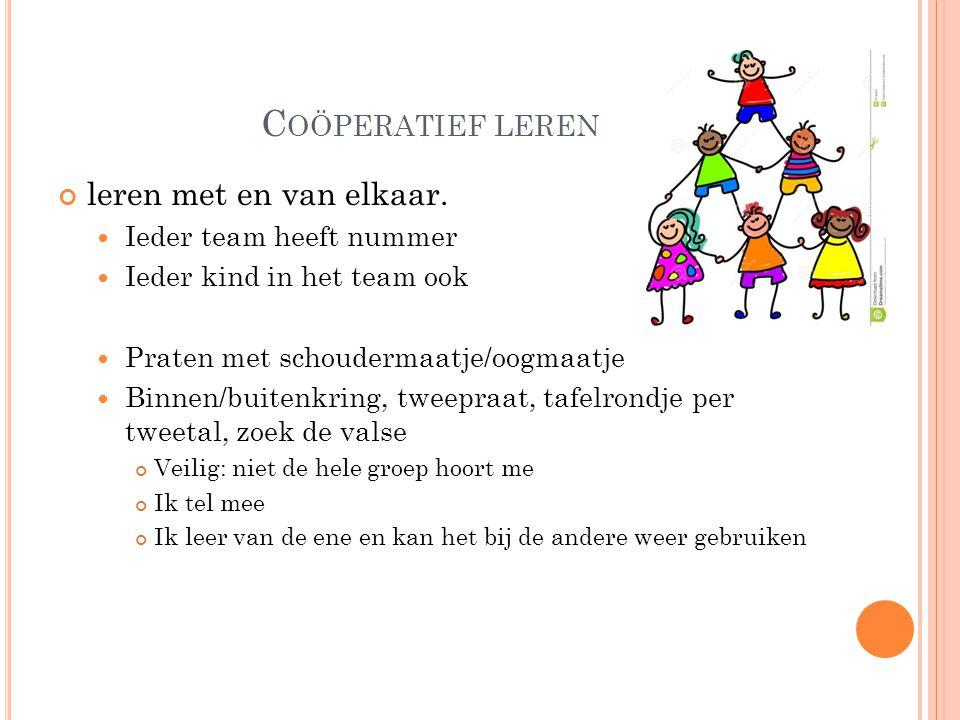 Coöperatief leren leren met en van elkaar. Ieder team heeft nummer