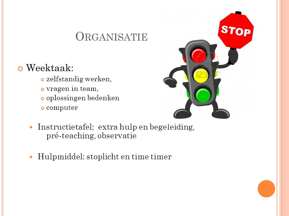 Organisatie Weektaak: