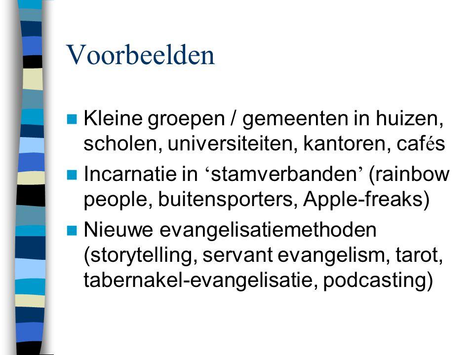 Voorbeelden Kleine groepen / gemeenten in huizen, scholen, universiteiten, kantoren, cafés.