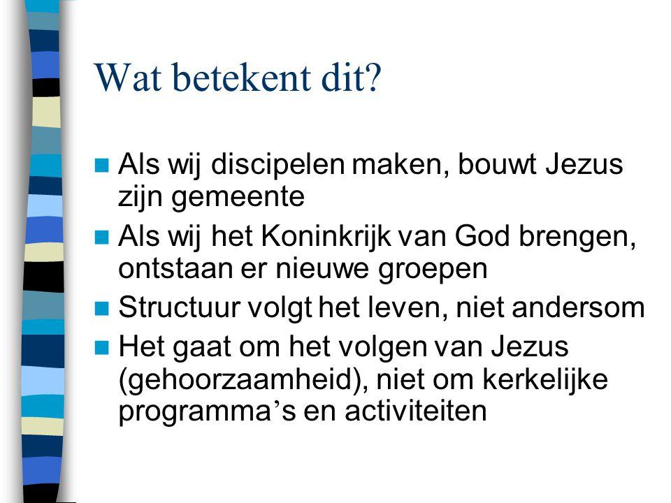 Wat betekent dit Als wij discipelen maken, bouwt Jezus zijn gemeente