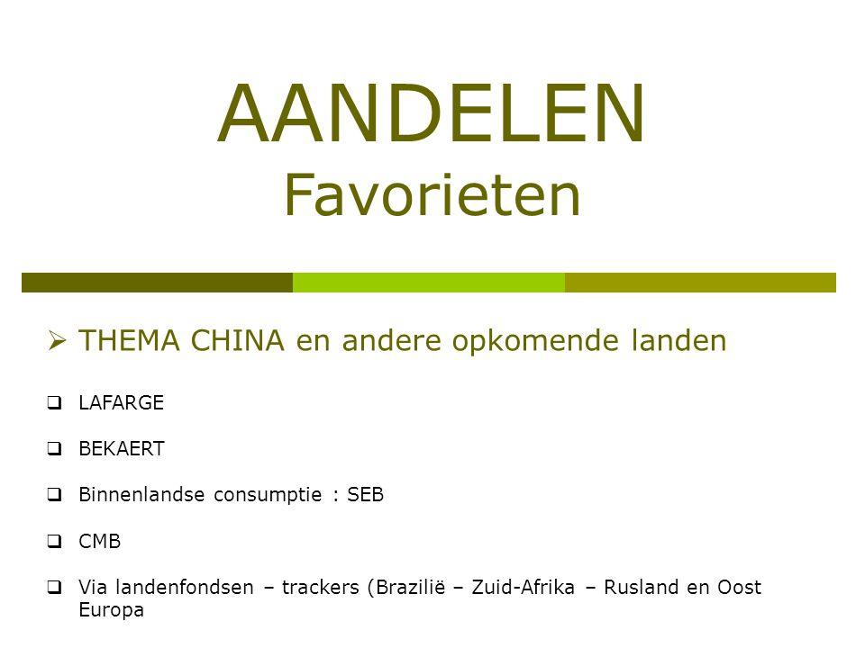 AANDELEN Favorieten THEMA CHINA en andere opkomende landen LAFARGE