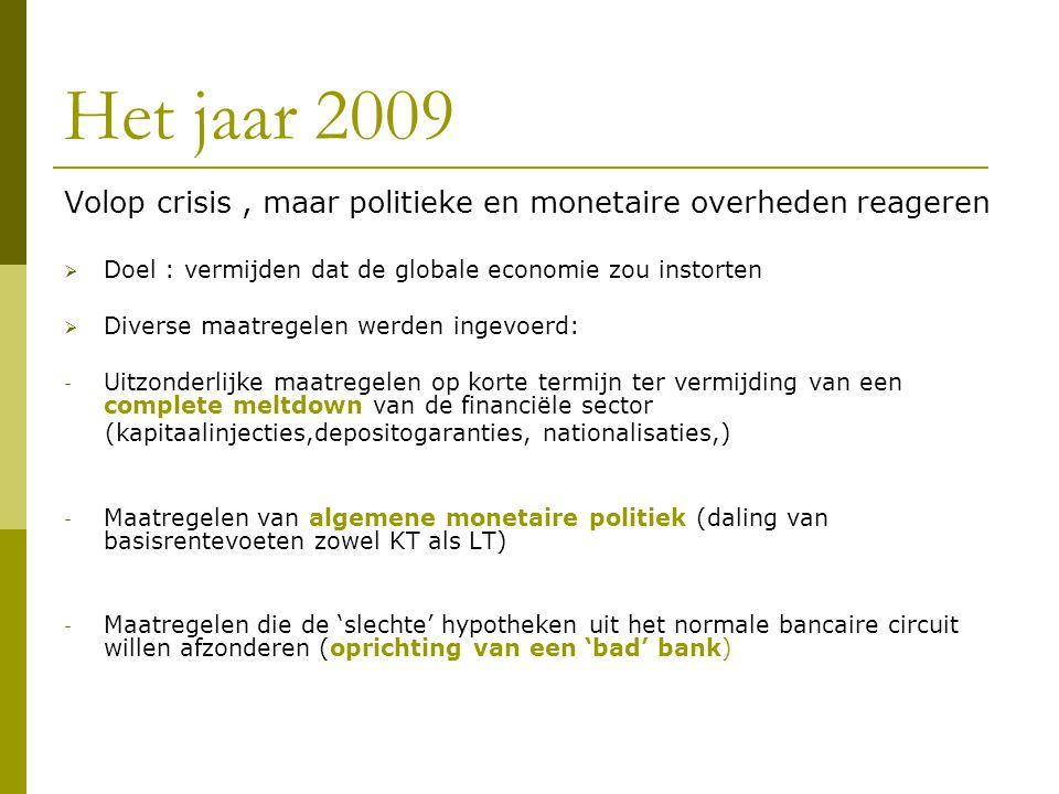 Het jaar 2009 Volop crisis , maar politieke en monetaire overheden reageren. Doel : vermijden dat de globale economie zou instorten.