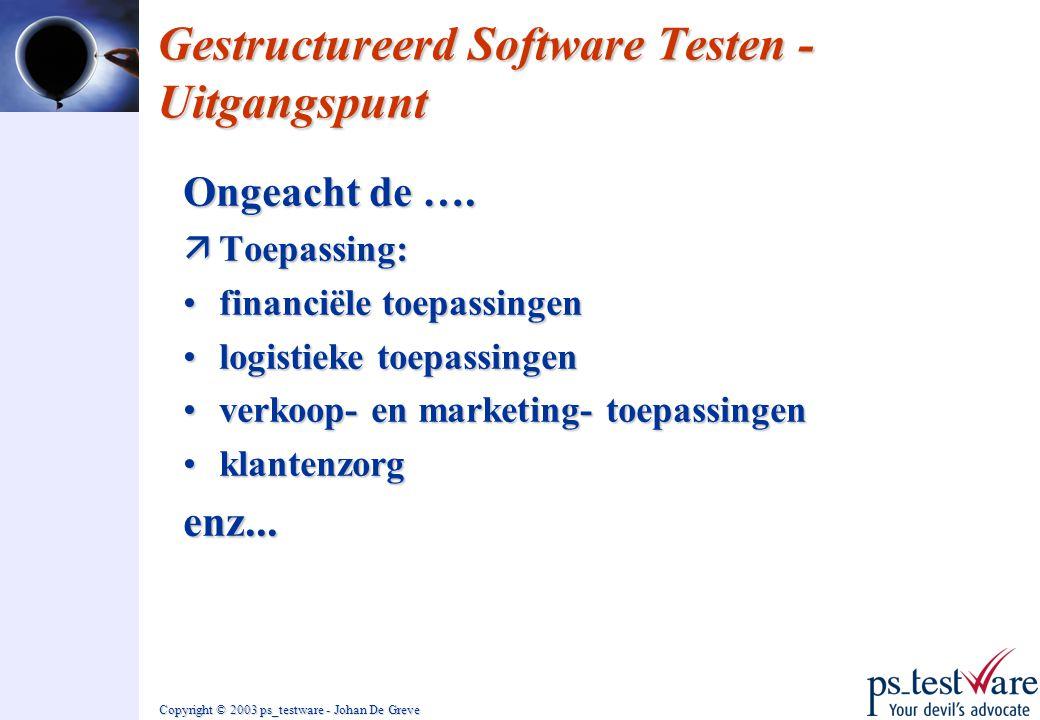 Gestructureerd Software Testen - Uitgangspunt