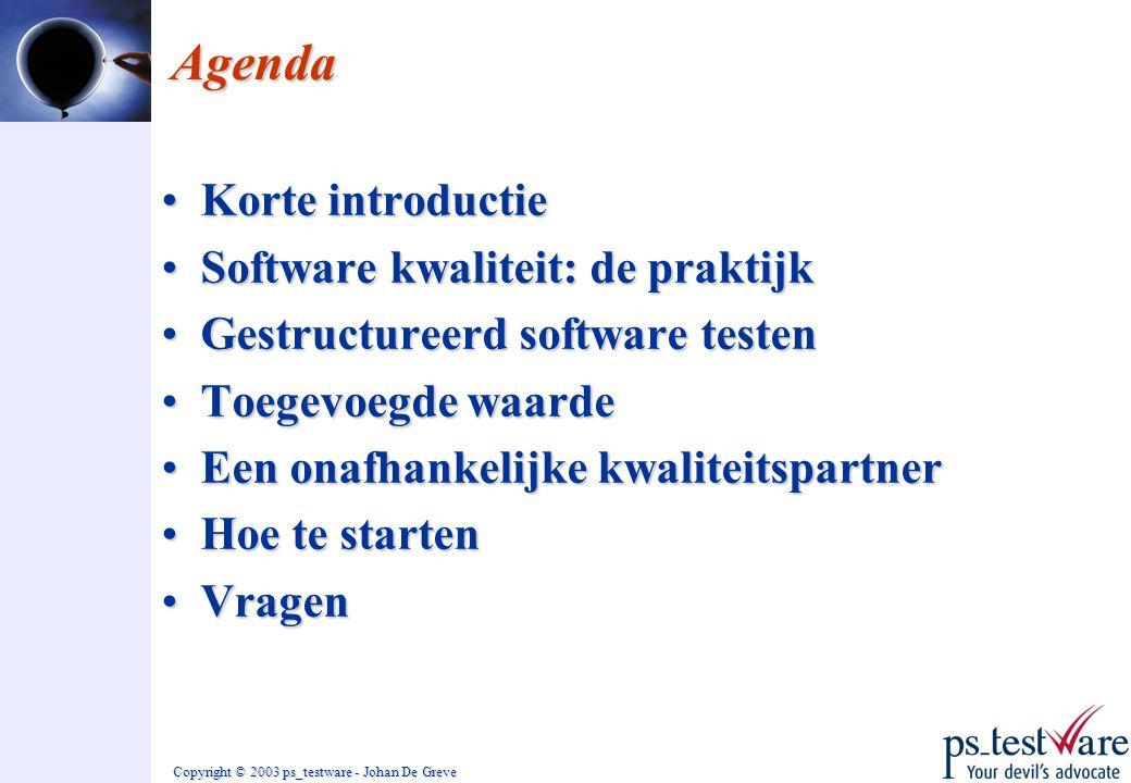 Agenda Korte introductie Software kwaliteit: de praktijk