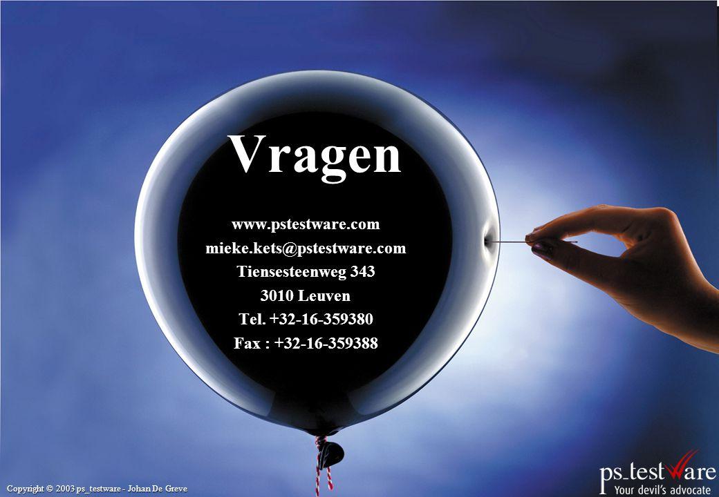 Vragen www.pstestware.com mieke.kets@pstestware.com Tiensesteenweg 343