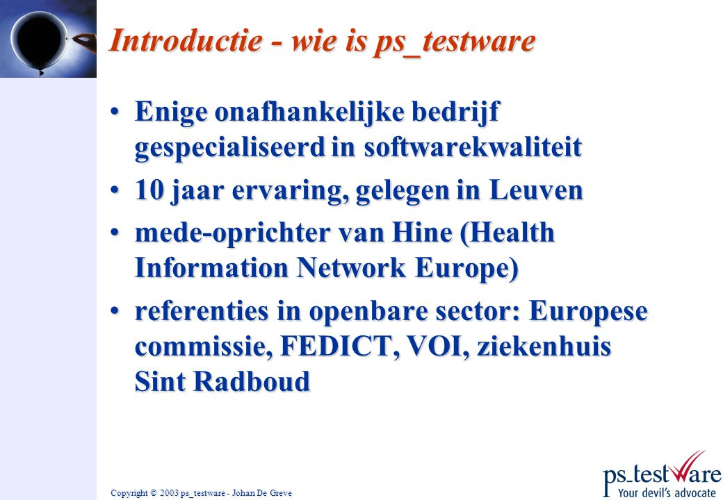 Introductie - wie is ps_testware