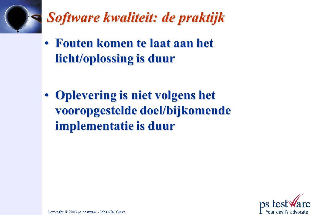 Software kwaliteit: de praktijk
