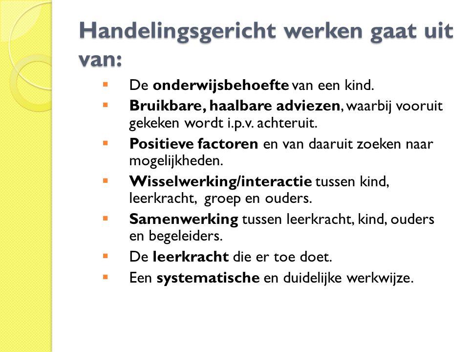 Handelingsgericht werken gaat uit van: