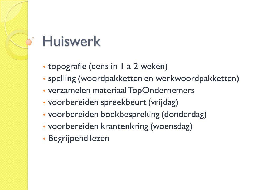 Huiswerk topografie (eens in 1 a 2 weken)