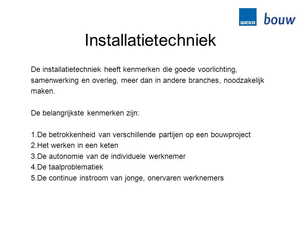 Installatietechniek De installatietechniek heeft kenmerken die goede voorlichting,
