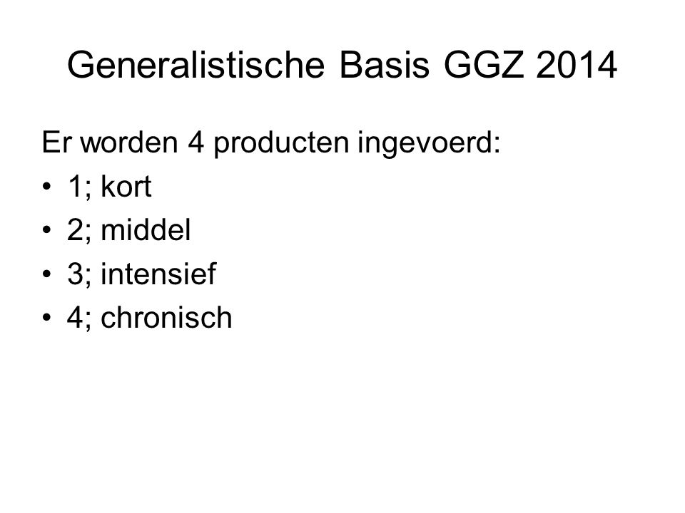 Generalistische Basis GGZ 2014