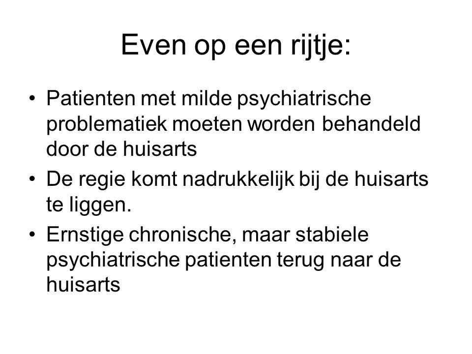 Even op een rijtje: Patienten met milde psychiatrische problematiek moeten worden behandeld door de huisarts.