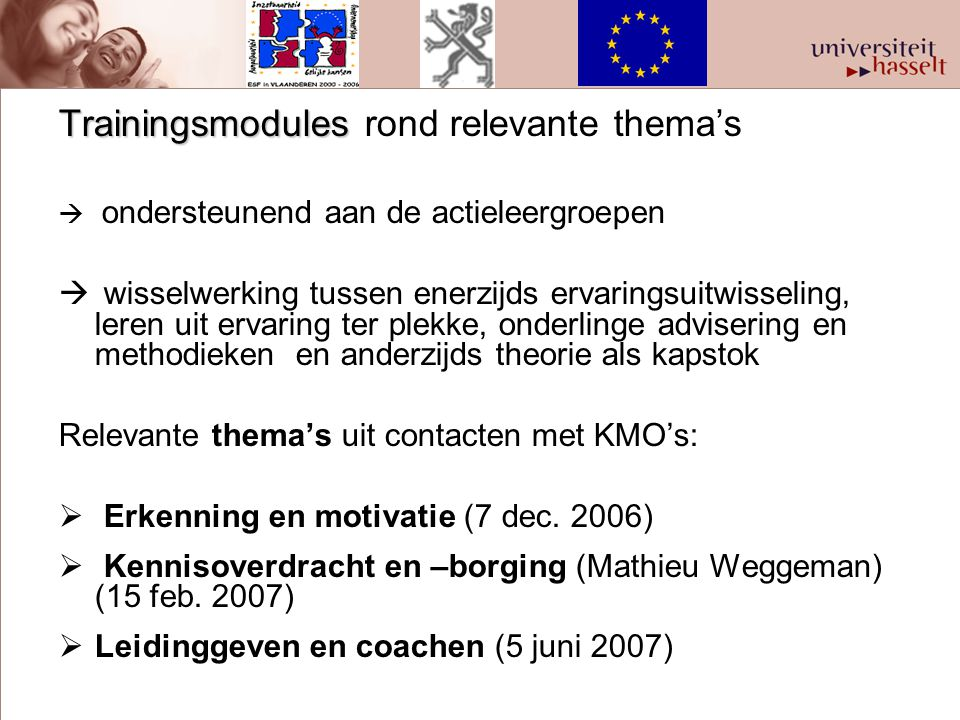 Trainingsmodules rond relevante thema's