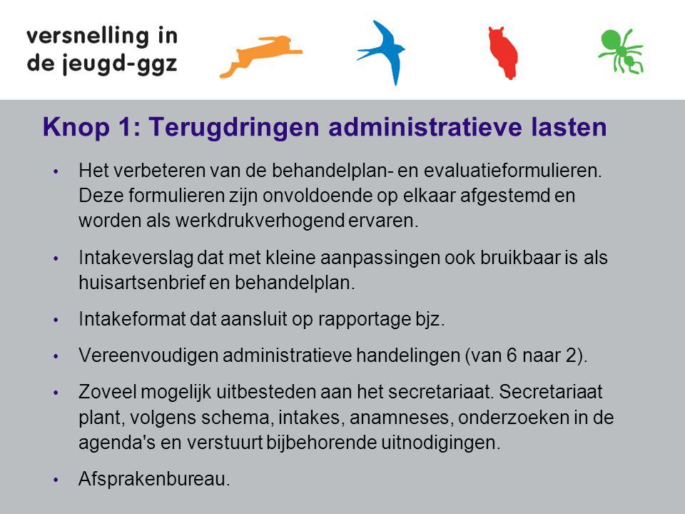 Knop 1: Terugdringen administratieve lasten