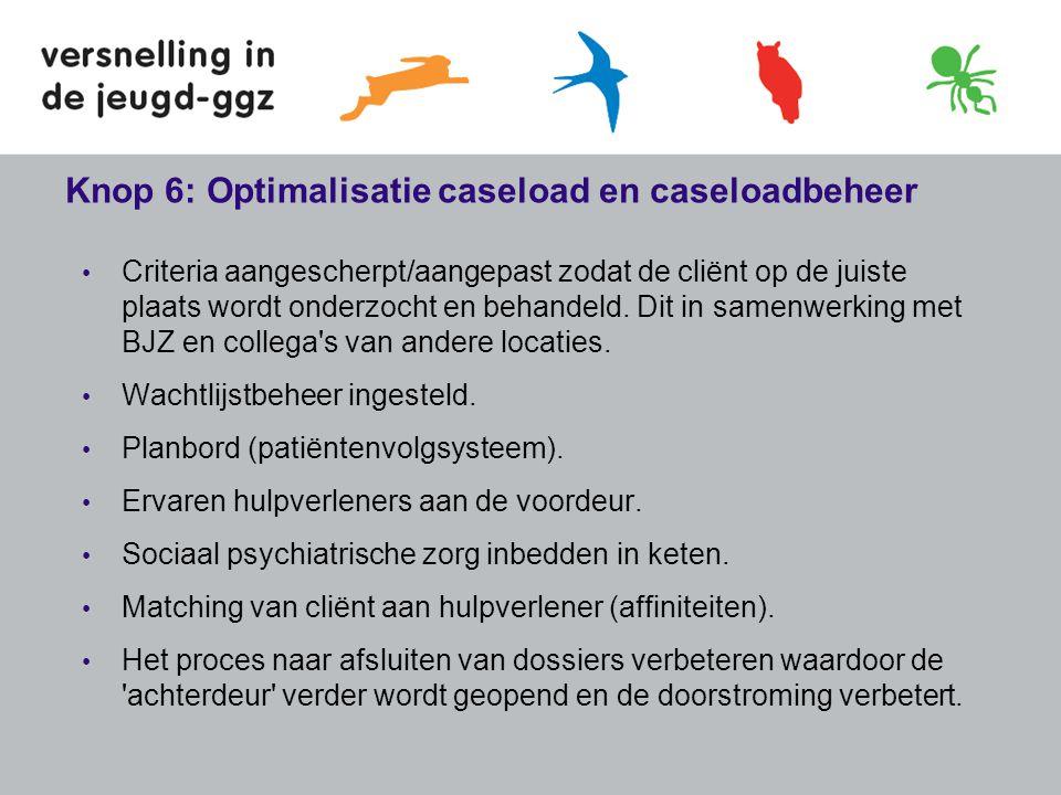 Knop 6: Optimalisatie caseload en caseloadbeheer