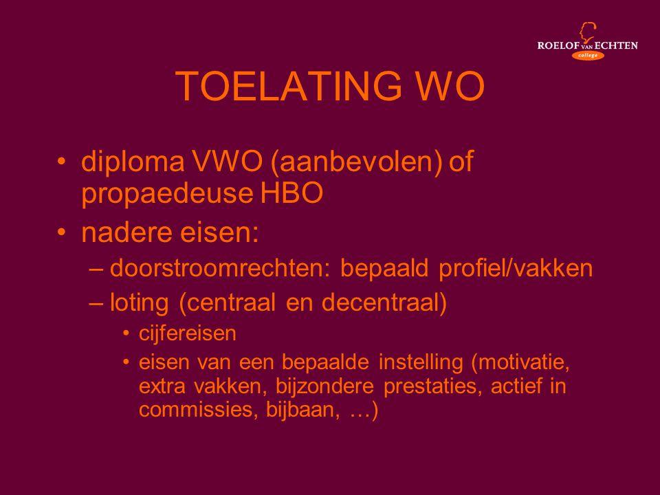 TOELATING WO diploma VWO (aanbevolen) of propaedeuse HBO nadere eisen: