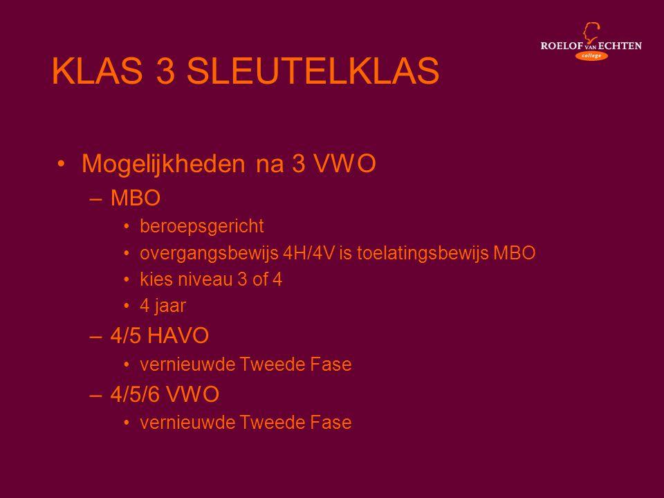 KLAS 3 SLEUTELKLAS Mogelijkheden na 3 VWO MBO 4/5 HAVO 4/5/6 VWO