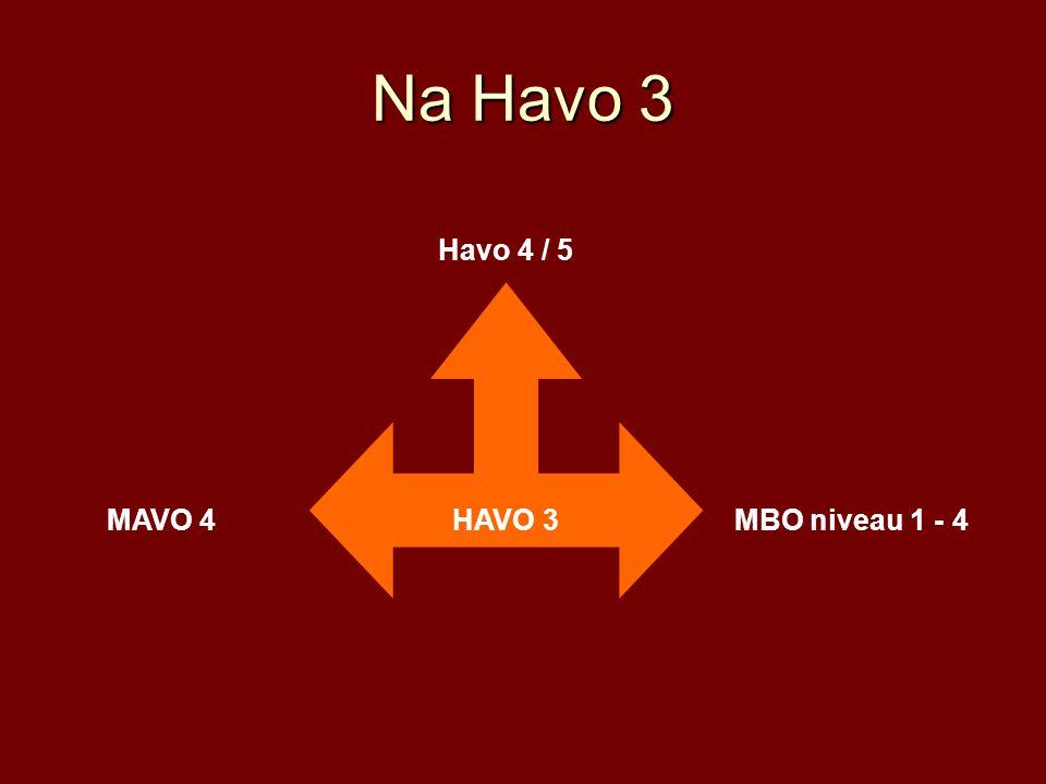 Na Havo 3 Havo 4 / 5 HAVO 3 MAVO 4 MBO niveau 1 - 4
