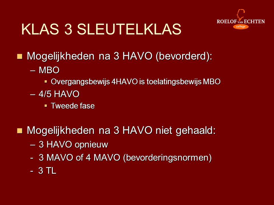 KLAS 3 SLEUTELKLAS Mogelijkheden na 3 HAVO (bevorderd):