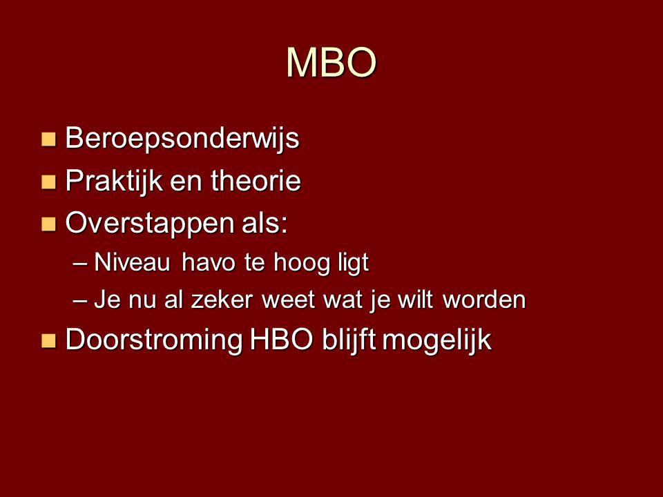 MBO Beroepsonderwijs Praktijk en theorie Overstappen als: