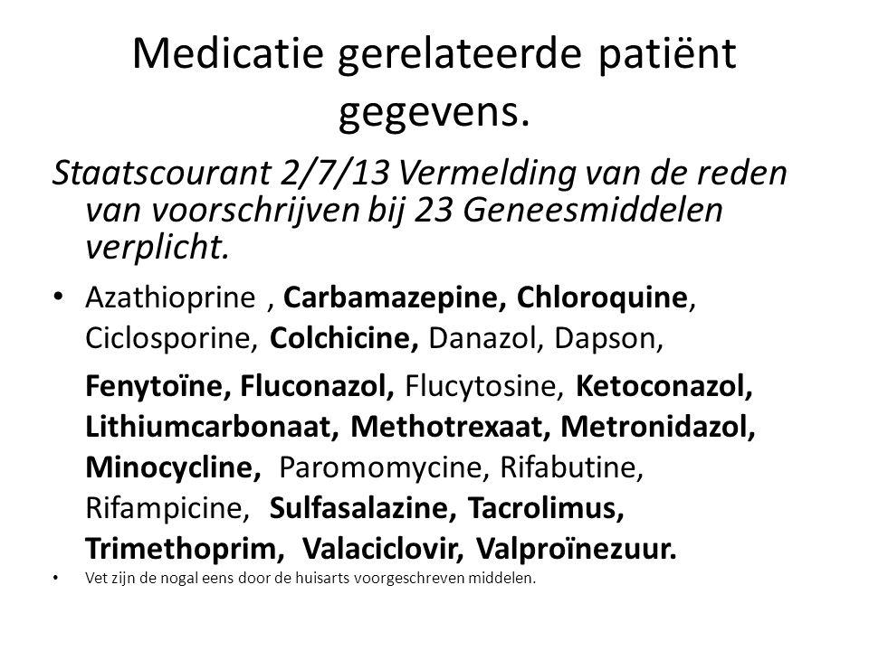 Medicatie gerelateerde patiënt gegevens.