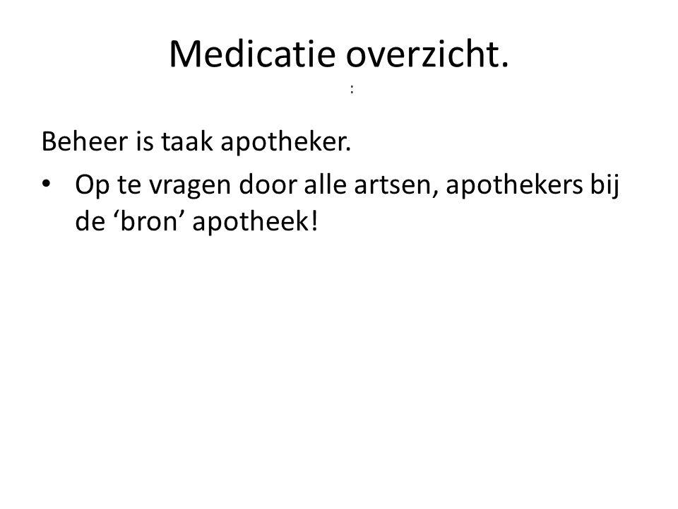 Medicatie overzicht. : Beheer is taak apotheker.