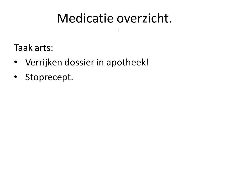 Medicatie overzicht. : Taak arts: Verrijken dossier in apotheek!