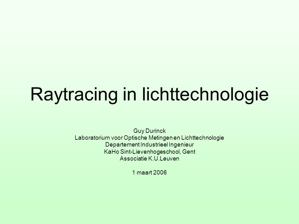 Raytracing in lichttechnologie