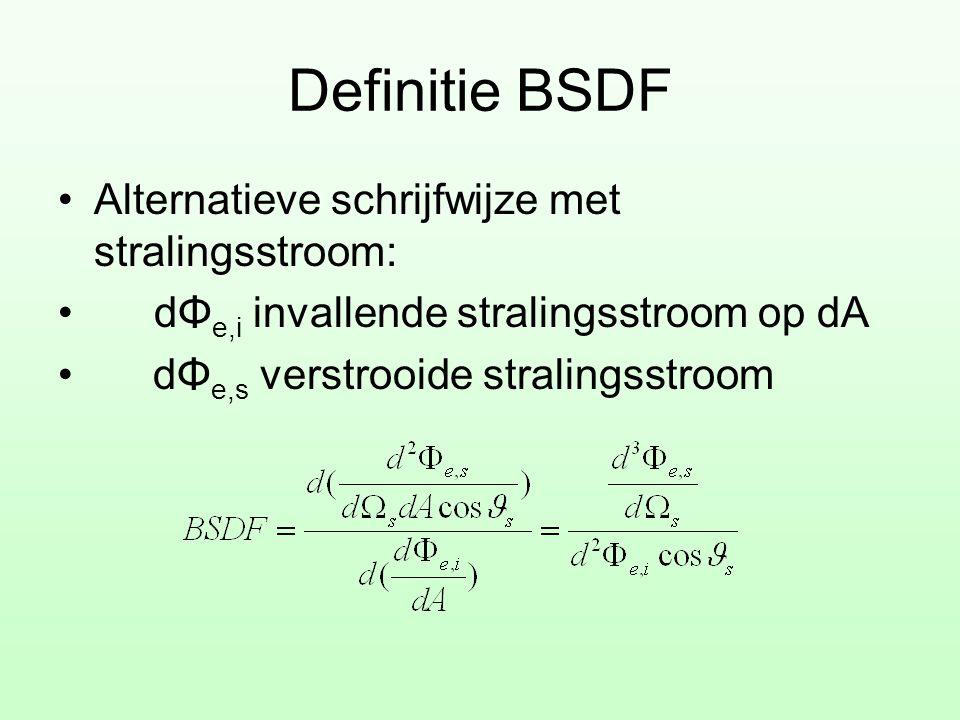 Definitie BSDF Alternatieve schrijfwijze met stralingsstroom: