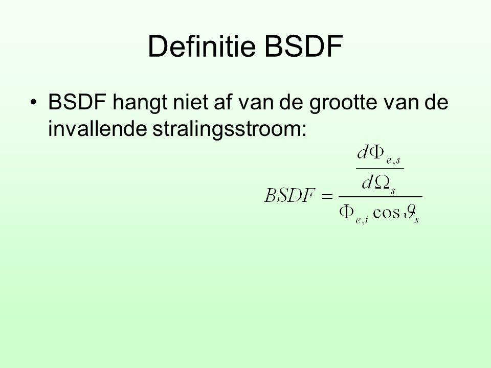Definitie BSDF BSDF hangt niet af van de grootte van de invallende stralingsstroom: