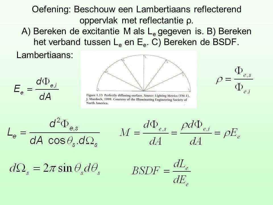 Oefening: Beschouw een Lambertiaans reflecterend oppervlak met reflectantie ρ. A) Bereken de excitantie M als Le gegeven is. B) Bereken het verband tussen Le en Ee. C) Bereken de BSDF.