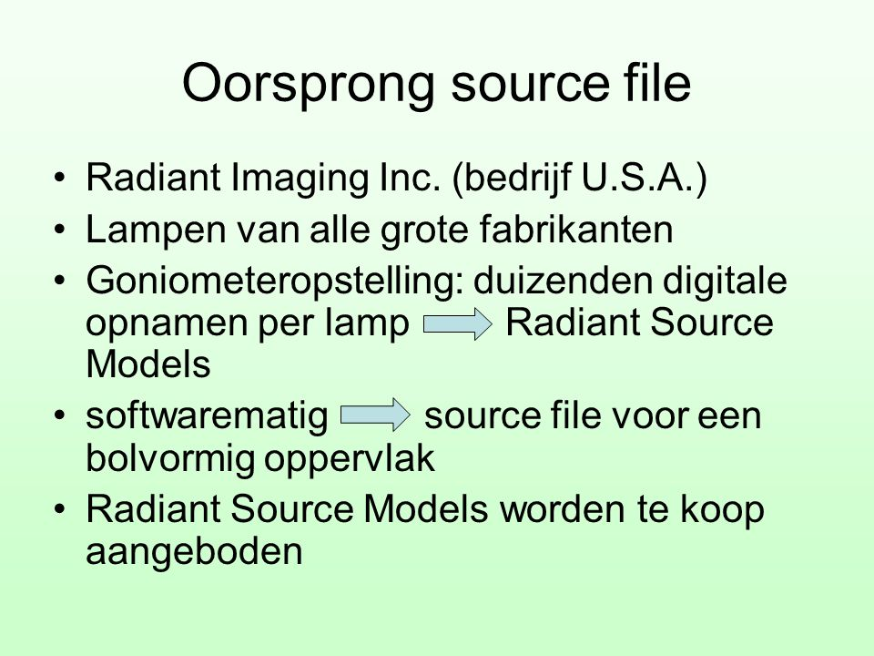 Oorsprong source file Radiant Imaging Inc. (bedrijf U.S.A.)