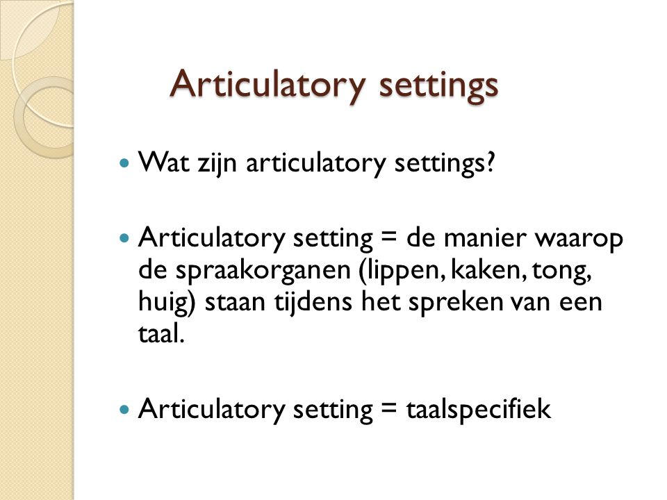 Articulatory settings