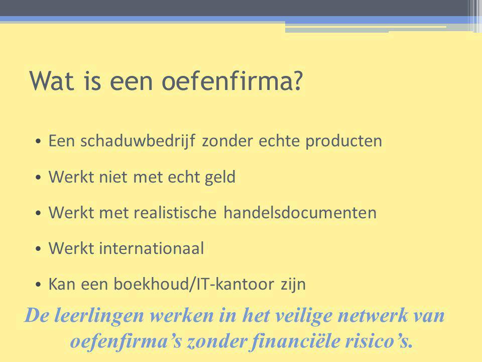 Wat is een oefenfirma Een schaduwbedrijf zonder echte producten. Werkt niet met echt geld. Werkt met realistische handelsdocumenten.