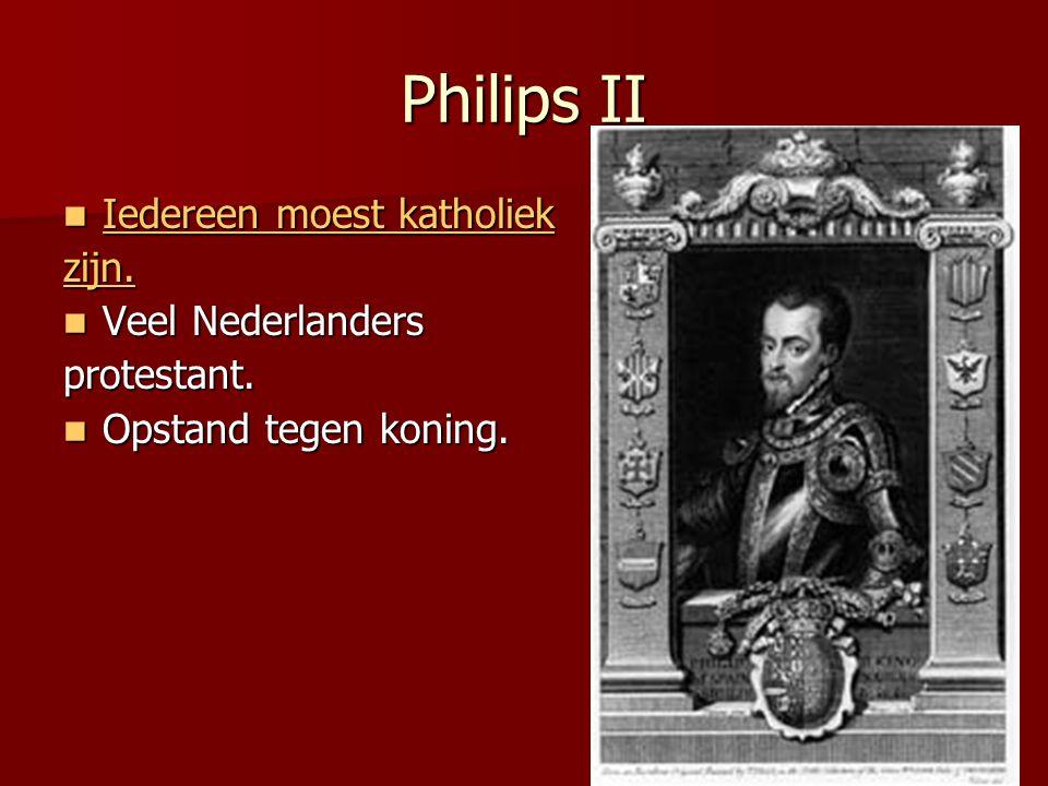 Philips II Iedereen moest katholiek zijn. Veel Nederlanders