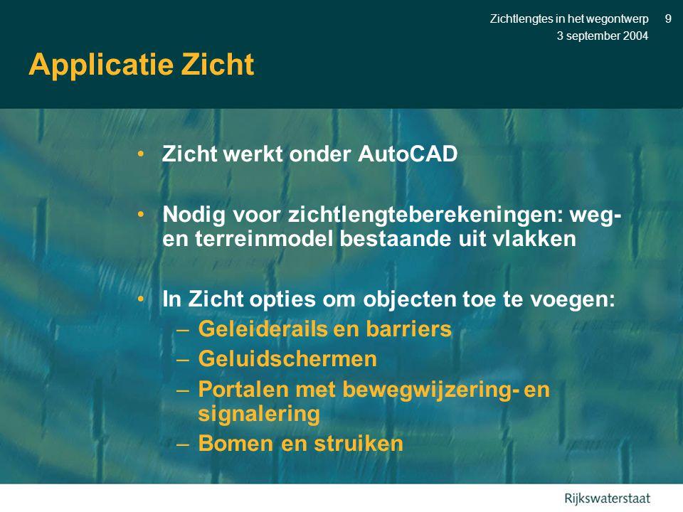 Applicatie Zicht Zicht werkt onder AutoCAD