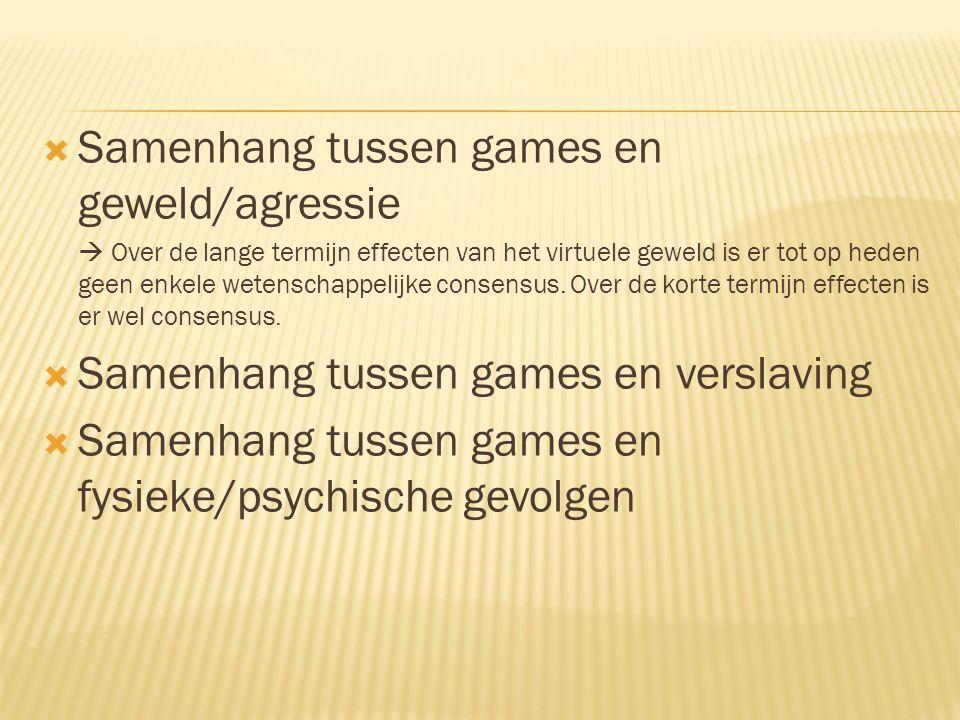 Samenhang tussen games en geweld/agressie