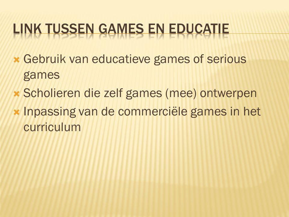 Link tussen games en educatie