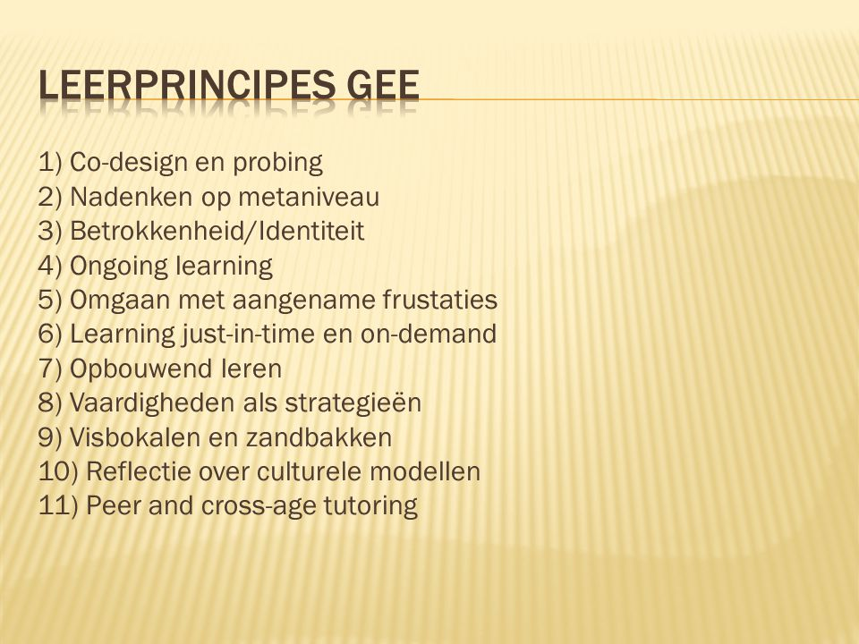 Leerprincipes Gee