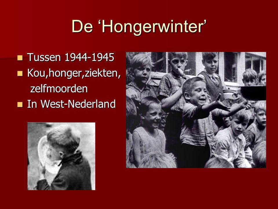 De 'Hongerwinter' Tussen 1944-1945 Kou,honger,ziekten, zelfmoorden